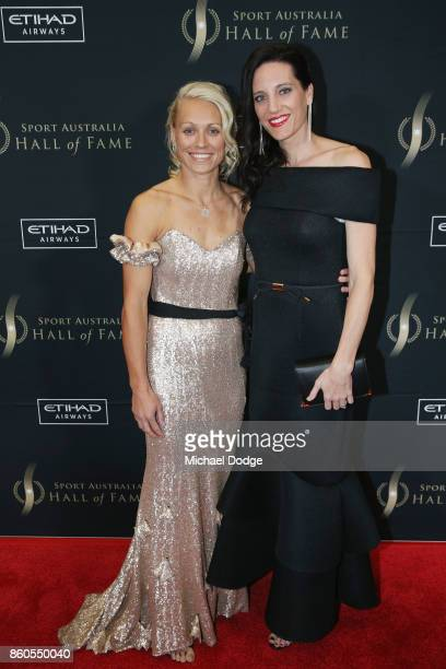 Erin Phillips and wife Tracey Phillips pose at the Sport Australia Hall of Fame Annual Induction and Awards Gala Dinner at Crown Palladium on October...