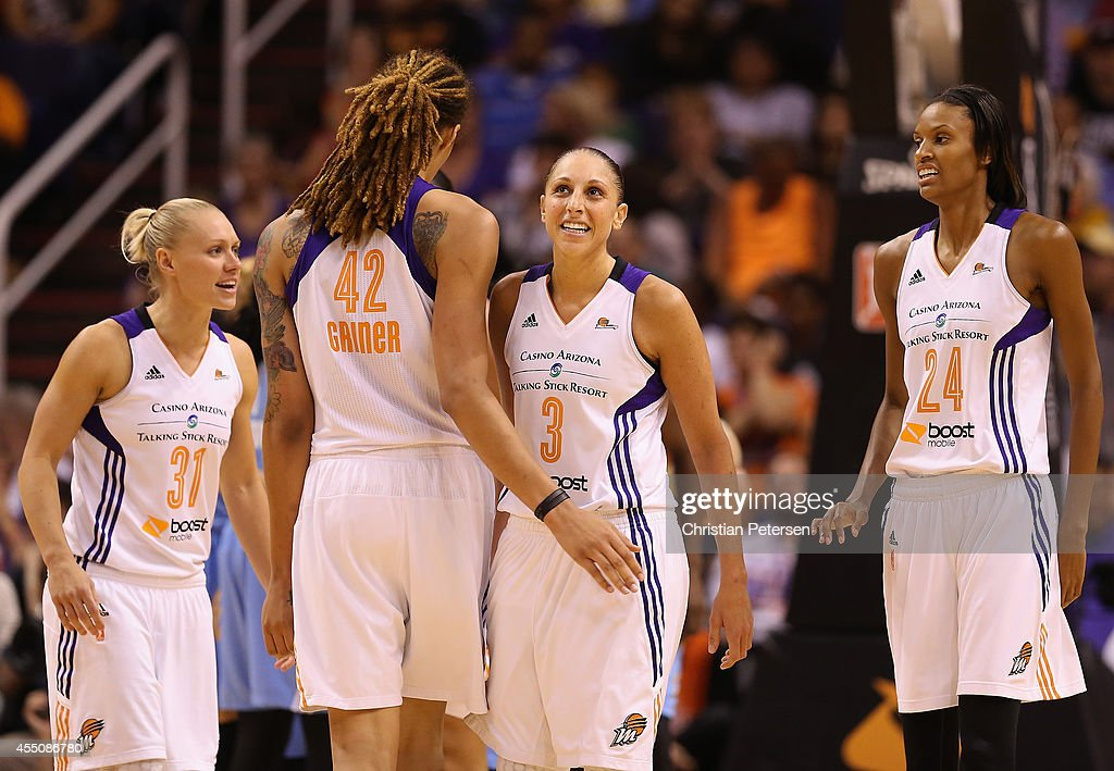 Erin Phillips #31, <a gi-track='captionPersonalityLinkClicked' href=/galleries/search?phrase=Brittney+Griner&family=editorial&specificpeople=6836945 ng-click='$event.stopPropagation()'>Brittney Griner</a> #42, <a gi-track='captionPersonalityLinkClicked' href=/galleries/search?phrase=Diana+Taurasi&family=editorial&specificpeople=202558 ng-click='$event.stopPropagation()'>Diana Taurasi</a> #3 and <a gi-track='captionPersonalityLinkClicked' href=/galleries/search?phrase=DeWanna+Bonner&family=editorial&specificpeople=4085058 ng-click='$event.stopPropagation()'>DeWanna Bonner</a> #24 of the Phoenix Mercury react after scoring against the Chicago Sky during the second half of game two of the WNBA Finals at US Airways Center on September 9, 2014 in Phoenix, Arizona.