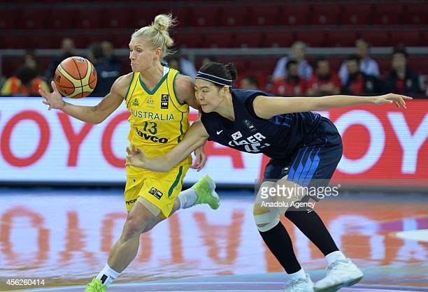 Erin Phillips of Australia in action against her opponent during the 2014 FIBA World Championship for Women Group C basketball match between...