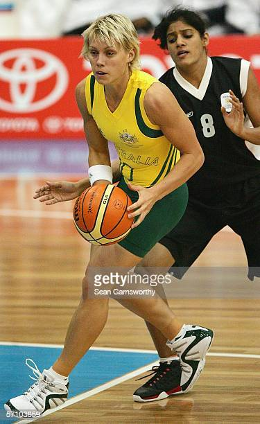 Erin Phillips of Australia in action during the basketball match between Australia and India at Traralgon Sports Stadium during day one of the...