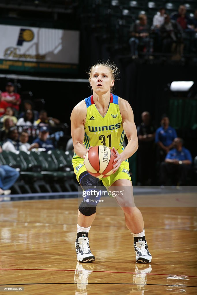 Erin Phillips #31 of Dallas Wings handles the ball against the Indiana Fever during a preseason game on May 1, 2016 at Bankers Life Fieldhouse in Indianapolis, Indiana.