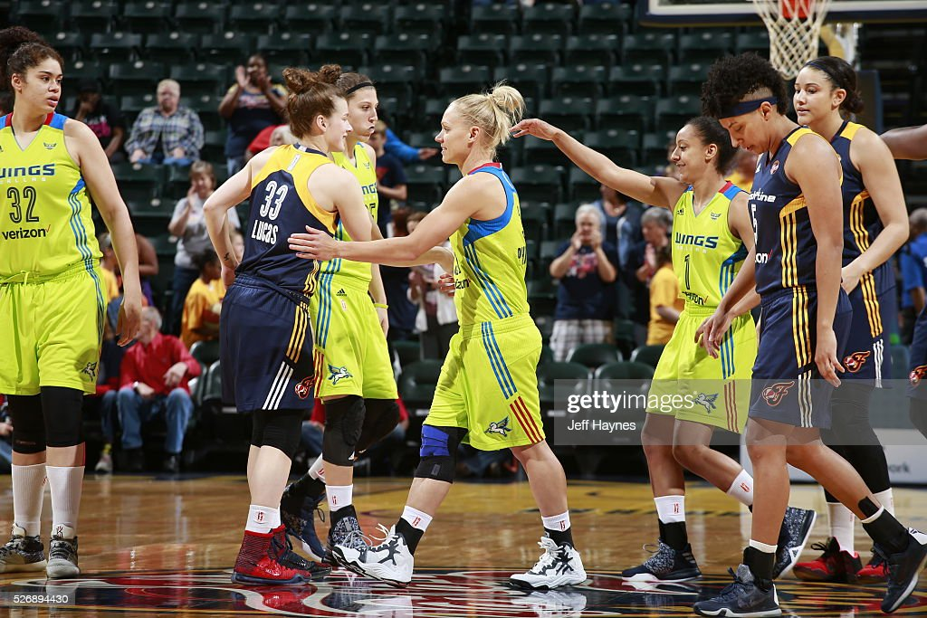 Erin Phillips #31 of Dallas Wings shakes hands with the Indiana Fever during a preseason game on May 1, 2016 at Bankers Life Fieldhouse in Indianapolis, Indiana.