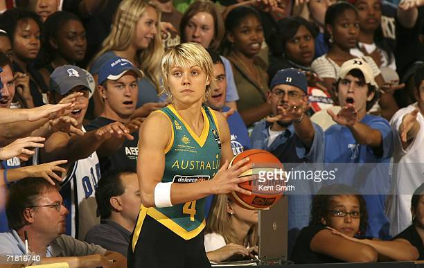 Erin Phillips of the Australia Women's World Championship Team looks for the open teammate in the game against the USA Basketball Women's World...