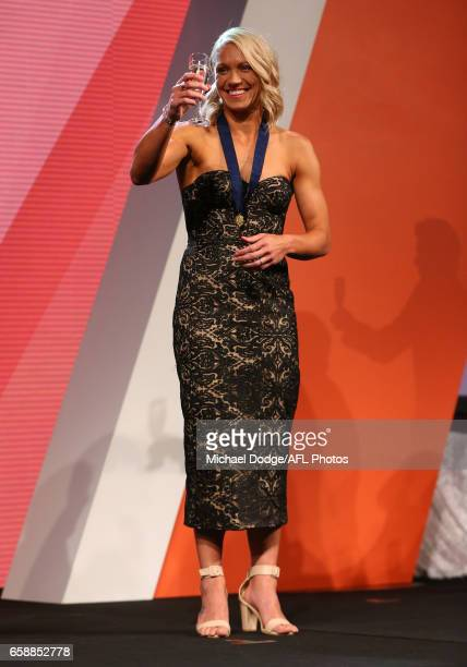 Erin Phillips of the Crows accepts a toast after being announced as the inaugural AFLW Best and Fairest Winner during the The W Awards at the...