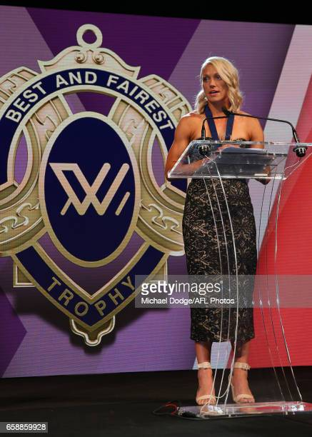 Erin Phillips of the Crows addresses the gathering after being announced as the inaugural AFLW Best and Fairest Winner during the The W Awards at the...