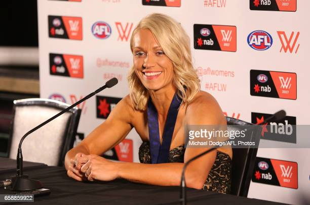 Erin Phillips of the Crows addresses the media after being announced as the inaugural winner of the AFLW Best Fairest during the The W Awards at the...