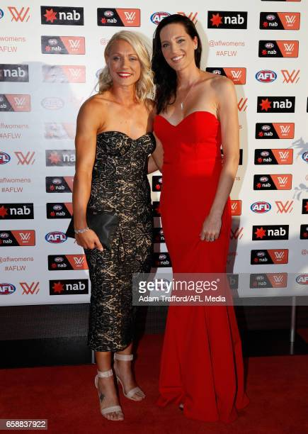 Erin Phillips of the Crows and wife Tracy Gahan arrive during the The W Awards at the Peninsula on March 28 2017 in Melbourne Australia