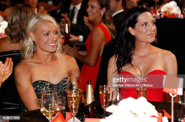 Erin Phillips of the Crows and wife Tracy Gahan look on after Phillips was announced as the inaugural AFLW Best and Fairest winner during the The W...