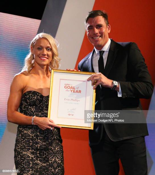 Erin Phillips of the Crows is presented with her Goal of the Year award by Matthew Richardson during the The W Awards at the Peninsula on March 28...