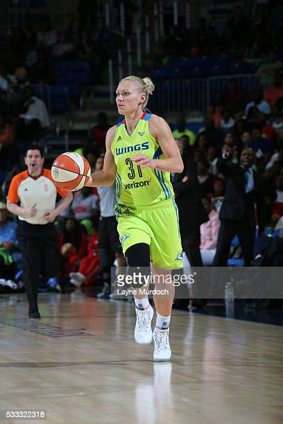 Erin Phillips of the Dallas Wings dribbles the ball against the San Antonio Stars on May 21 2016 at College Park Center in Arlington Texas NOTE TO...