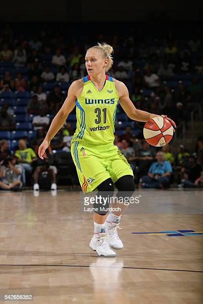 Erin Phillips of the Dallas Wings dribbles the ball against the San Antonio Stars on June 23 2016 at College Park Center in Arlington Texas NOTE TO...
