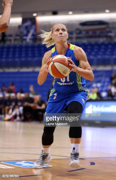 Erin Phillips of the Dallas Wings drives to the basket during the game against the Indiana Fever in a WNBA game on May 6 2017 at College Park Center...