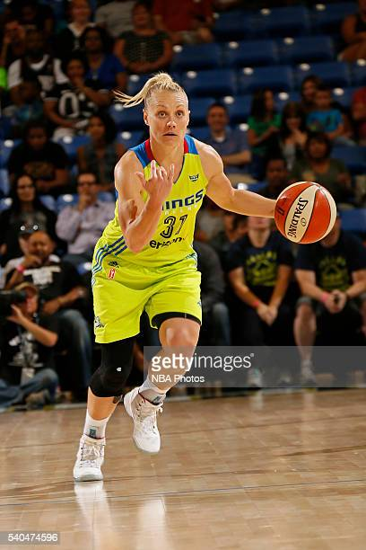 Erin Phillips of the Dallas Wings handles the ball against the Los Angeles Sparks on June 11 2016 at College Park Center in Arlington Texas NOTE TO...