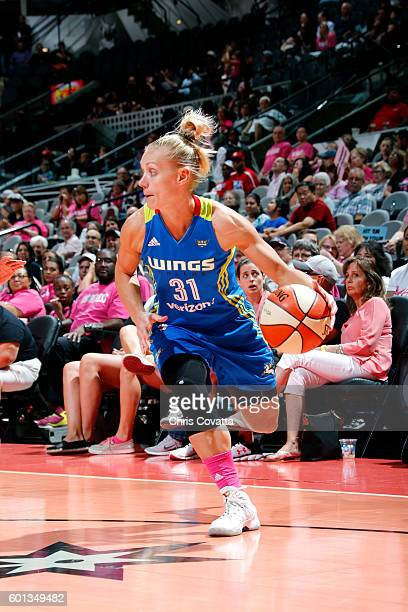Erin Phillips of the Dallas Wings handles the ball during the game against the San Antonio Stars during the WNBA game on September 9 2016 at the ATT...