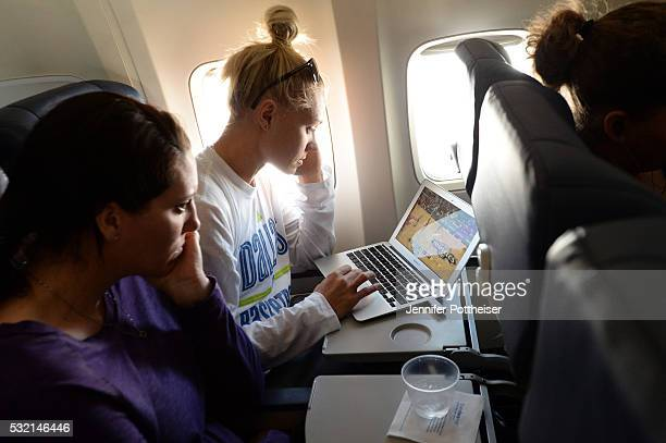 Erin Phillips of the Dallas Wings on the plane in route to New York to face the New York Liberty on May 15 2016 in Indianapolis Indiana NOTE TO USER...