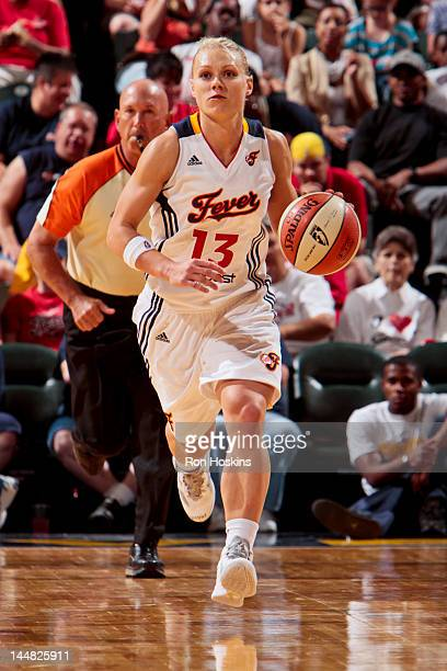 Erin Phillips of the Indiana Fever controls the ball against the Atlanta Dream at Bankers Life Fieldhouse on May 19 2012 in Indianapolis Indiana NOTE...