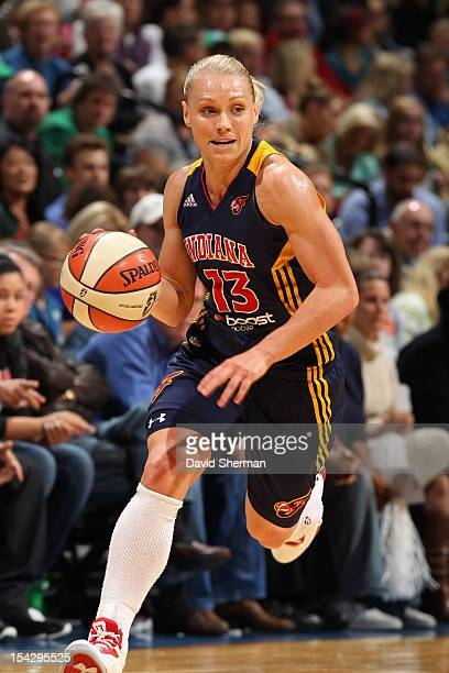 Erin Phillips of the Indiana Fever dribbles the ball against the Minnesota Lynx during the 2012 WNBA Finals Game Two on October 17 2012 at Target...