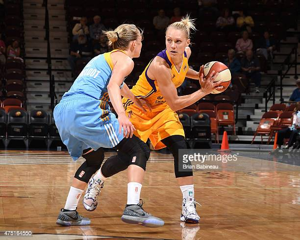 Erin Phillips of the Los Angeles Sparks handles the ball against the Chicago Sky on May 27 2015 at Mohegan Sun in Uncasville Connecticut NOTE TO USER...