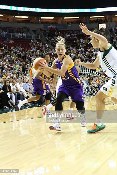 Erin Phillips of the Los Angeles Sparks handles the ball against the Seattle Storm on June 6 2015 at Key Arena in Seattle Washington NOTE TO USER...