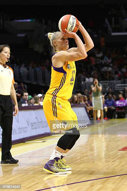 Erin Phillips of the Los Angeles Sparks handles the ball against the Phoenix Mercury in a WNBA game at Staples Center on July 5 2015 in Los Angeles...