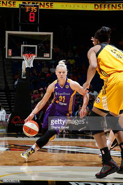 Erin Phillips of the Los Angeles Sparks handles the ball against the Tulsa Shock in a WNBA game on July 11 2015 at the BOK Center in Tulsa Oklahoma...