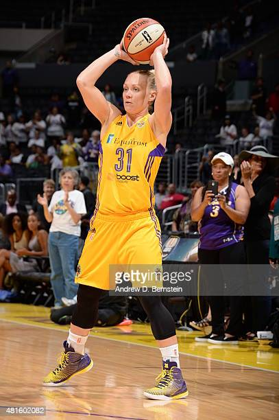 Erin Phillips of the Los Angeles Sparks handles the ball against the Phoenix Mercury on July 21 2015 at Staples Center in Los Angeles California NOTE...