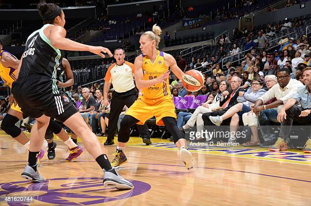 Erin Phillips of the Los Angeles Sparks handles the ball against the New York Liberty on July 22 2015 at Staples Center in Los Angeles California...