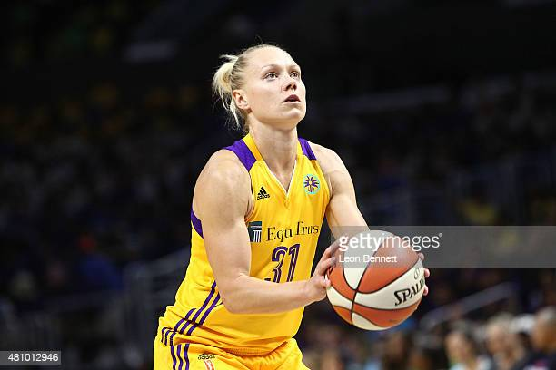 Erin Phillips of the Los Angeles Sparks shooting free throw against the Atlanta Dream in WNBA game at Staples Center on July 16 2015 in Los Angeles...