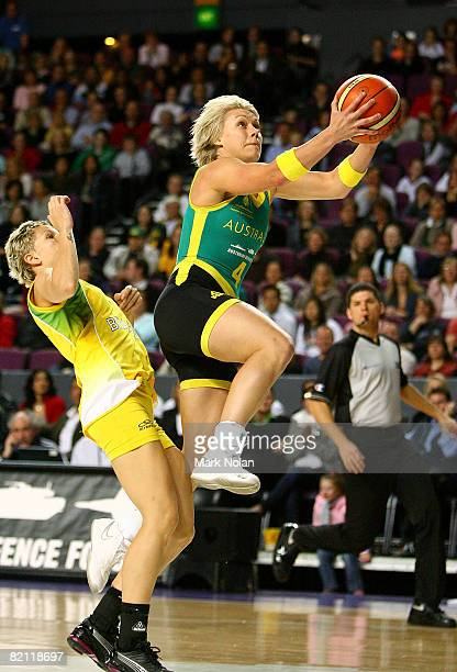 Erin Phillips of the Opals drives to the basket during the International Basketball Friendly match between the Australian Opals and Brazil at Sydney...