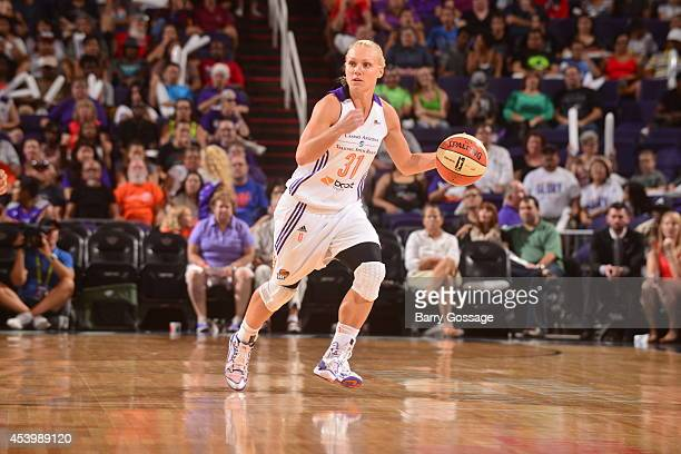 Erin Phillips of the Phoenix Mercury handles the ball against the Los Angeles Sparks in Game One of the Western Conference Semifinals during the 2014...