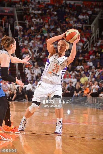 Erin Phillips of the Phoenix Mercury looks to pass the ball against the Minnesota Lynx in Game 3 of the 2014 WNBA Western Conference Finals on...