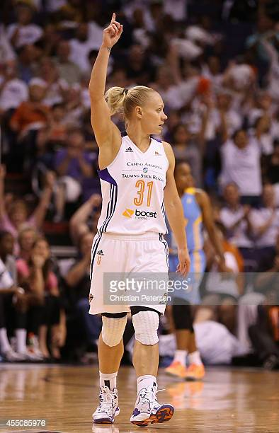 Erin Phillips of the Phoenix Mercury reacts after scoring against the Chicago Sky during the second half of game two of the WNBA Finals at US Airways...