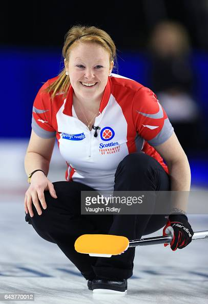 Erin Porter of Newfoundland Labrador reacts after delivering a stone in a draw eleven match against Ontario during the 2017 Scotties Tournament of...