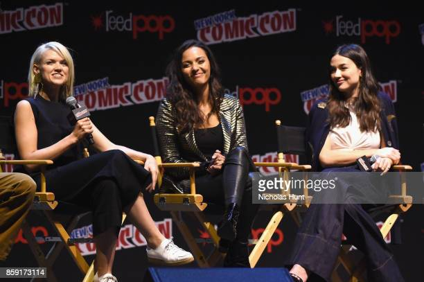 Erin Richards and Jessica Lucas speak onstage at the Gotham Panel during 2017 New York Comic Con on October 8 2017 in New York City