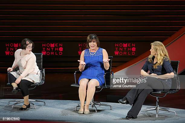 Erin Suzanne Farragher Maria Dellapina and Alex Witt speak onstage at Mother of Invention during Tina Brown's 7th Annual Women In The World Summit at...