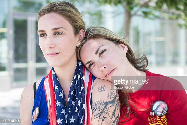Erin Vasselian with her sister Cindy Bowser left in Boston Massachusetts May 24 2015 Vasselian sponsored a team to raise money during Bostons Run To...