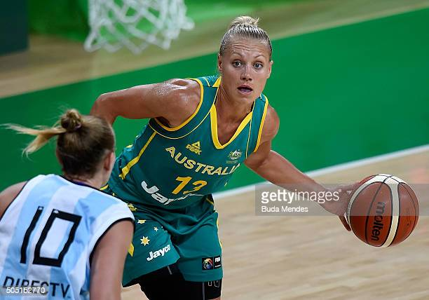 Erin Victoria Phillips of Australia drives the ball against Agostina Burani of Argentina during International Womens Basketball Tournament Aquece Rio...