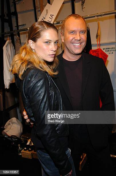 Erin Wasson and Michael Kors designer during Olympus Fashion Week Fall 2005 Michael Kors Front Row and Backstage at The Tent Bryant Park in New York...