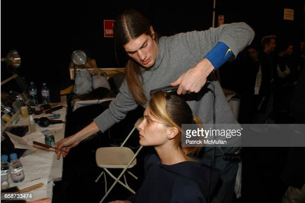 Erin Wasson in beauty at the Luca Luca Fashion Show at The Tent Bryant Park on February 8 2004 in New York City