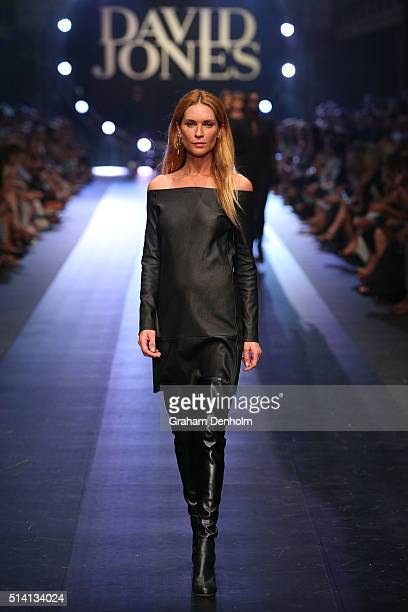Erin Wasson showcases designs by Scanlan Theodore on the runway during the David Jones opening event as part of Virgin Australia Melbourne Fashion...