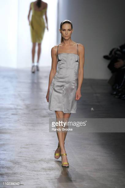 Erin Wasson wearing Calvin Klein Fall 2005 during Olympus Fashion Week Fall 2005 Calvin Klein Runway at Milk Studios in New York City New York United...