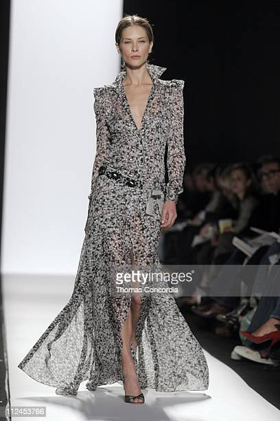 Erin Wasson wearing Carolina Herrera Fall 2005 during Olympus Fashion Week Fall 2005 Carolina Herrera Runway at The Tent Bryant Park in New York City...