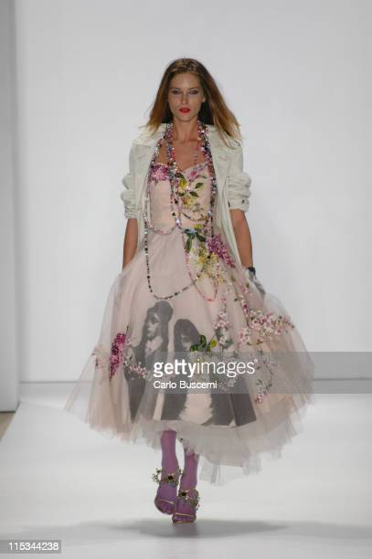 Erin Wasson wearing Libertine Spring 2006 during Olympus Fashion Week Spring 2006 Libertine Runway at Bryant Park in New York City New York United...