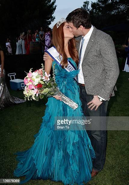 Erin White and boyfriend Matt Robinson pose at 7th annual Miss Malibu pageant at Malibu Golf Club on September 25 2011 in Malibu California