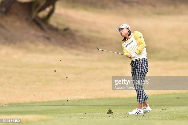 Erina Hara of Japan hits her second shot on the 15th hole during the final round of the Yokohama Tire PRGR Ladies Cup at the Tosa Country Club on...