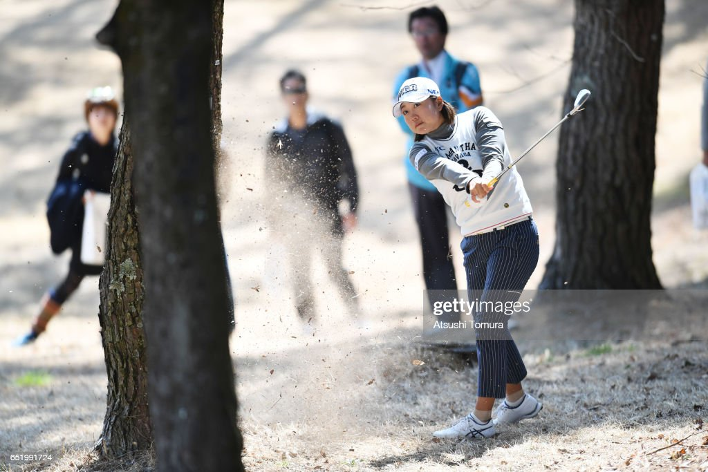 Erina Hara of Japan hits her second shot on the 1st hole during the second round of the Yokohama Tire PRGR Ladies Cup at the Tosa Country Club on March 11, 2017, Konan, Japan.