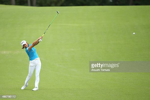 Erina Hara of Japan hits her second shot on the 3rd hole during the first round of Japan Women's Open 2015 at the Katayamazu Golf Culb on October 1...