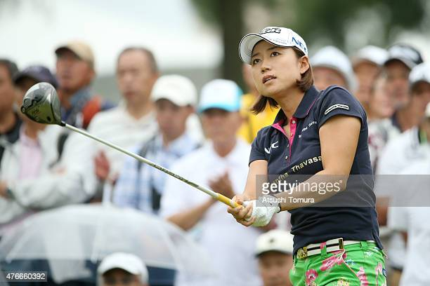 Erina Hara of Japan hits her tee shot on the 10th hole during the first round of the Suntory Ladies Open at the Rokko Kokusai Golf Club on June 11...