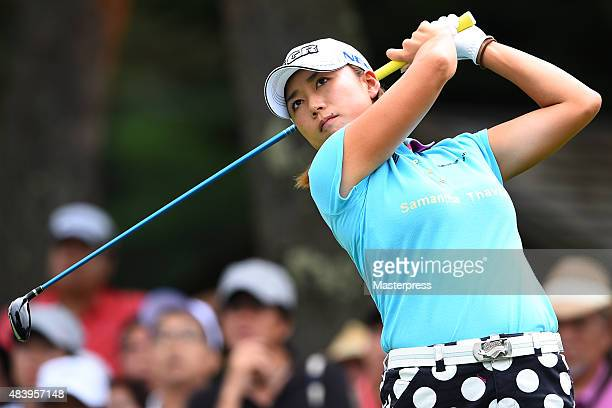 Erina Hara of Japan hits her tee shot on the 12th hole during the first round of the NEC Karuizawa 72 Golf Tournament 2015 at the Karuizawa 72 Golf...