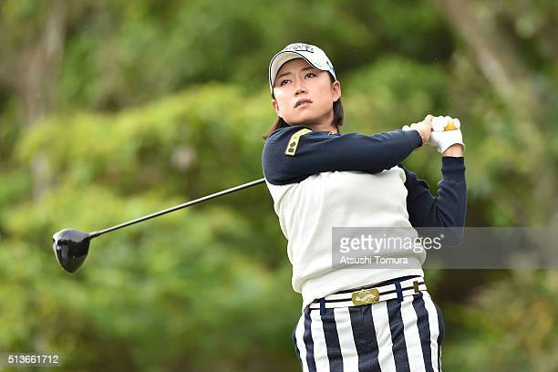 Erina Hara of Japan hits her tee shot on the 12th hole during the second round of the Daikin Orchid Ladies Golf Tournament at the Ryukyu Golf Club on...
